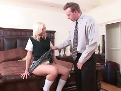 A naughty coed in her cute uniform gets drilled by her teacher