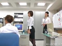 Sexy MILFs Satsuki Kirioka and Sorami Haga fucked in the office tube porn video