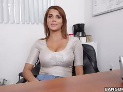Attractive Latina babes with big tits being screwed hardcore ontop of office desk tube porn video