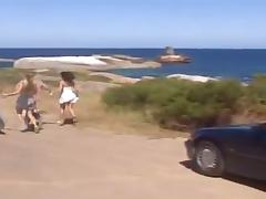 Demia Moore and her GF enjoy foursome sex on a seashore