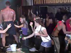Crazy women at a party suck and fuck the male strippers on stage