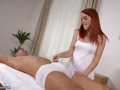 A redheaded babe gives a blowjob and gets rough fucked