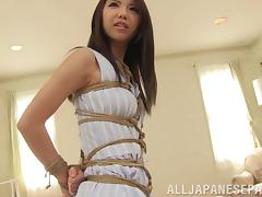 Adorable Japanese girl in bondage is licked nicely then nailed Hardcore
