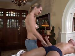 Dazzling tattooed cowgirl with hot ass giving huge dick blowjob in close up shoot