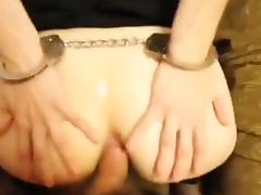 Handcuffed blindfold assfucked