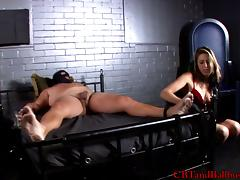 Mistress Dahlia in a nice ball busting and naughty blowjob action tube porn video
