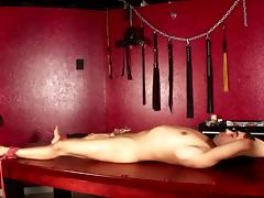 Charming babes with natural tits busting huge balls in bdsm close up shoot tube porn video