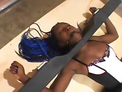 Wild BDSM action where a slave is tied to the ground