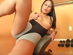 Kayme Kai enjoys fervent fingering and rides a hard wang tube porn video