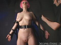 Accepting dame with small tits in bondage getting tortured in bdsm sex