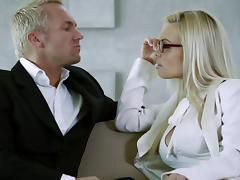 Jesse Jane licks a guy's cock and welcomes it in her nice pussy