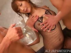 Kokone Mizutan wearing fishnet bodystocking enjoys MMF banging tube porn video