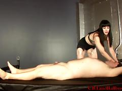 Stunning brunette with a fetish torturing a man in bondage then spanks him