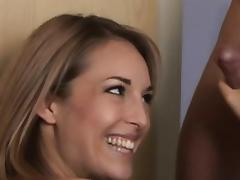 Threesome, Babe, Blonde, CFNM, Clothed, Cumshot