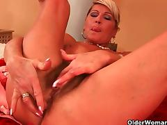 Sexy blonde milfs dildo their cunts for you