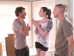 Stoya fucked and face jizzed in MMF threesome story