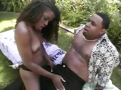 An ebony babe loses her mind as she gets fucked hard