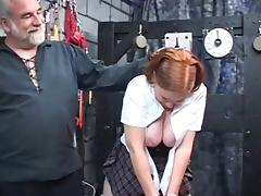 Chubby redhead toyed and ass fingered by older guy