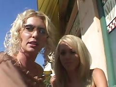 Alluring blonde lesbian with hot ass in thong enjoying her pussy being licked
