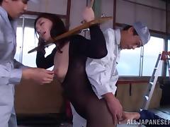 Breathtaking Japanese babes in bondage getting fucked hardcore missionary