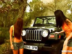 Two bitches get fucked on the car and take facial cumshot after BJ