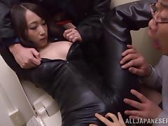 Attractive Japanese dame in leather attire getting stripped before having her hairy pussy fingered in POV