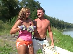 Busty Leila gets her tight pussy fucked by the pond tube porn video