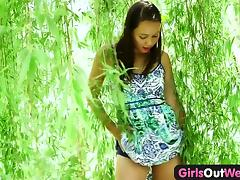 Girls Out West - Exotic amateur babe plays with glass toy