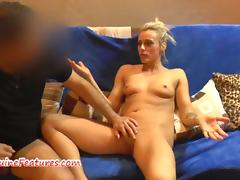 Czech blonde strips and gets her cunt munched