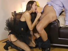 Creampie to end babe's nasty porn show