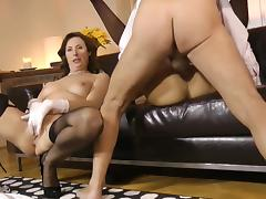 Young gal joins her mom in hardcore tube porn video