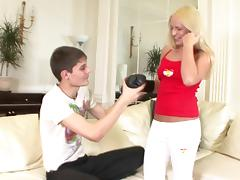 Blonde teen Britney Spring gets plowed hardcore on the couch porn tube video