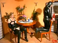 Latex Mistress Fucks Sub Couple