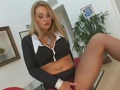 Bosomy blonde mom Aline works on a BBC and jumps on it ardently