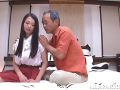 Brunette, Brunette, Japanese, Kissing, Mature, Old Man