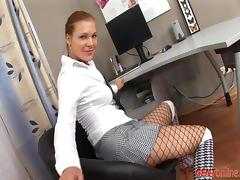 Edith M takes her fishnet pantyhose off to toy her pussy