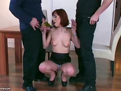 Vivacious redhead with pretty natural tits enjoying an awesome threesome