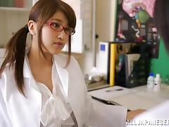 A very nice Asian nurse gives a doctor a great blowjob