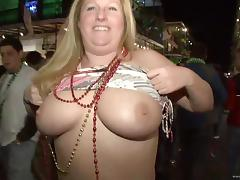 Amateur babes with natural tits flash them in public