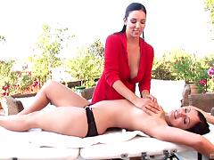 Jelena & Aria play with their big natural tits in lesbian massage clip