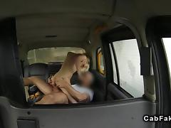 Skinny British amateur banged in fake taxi