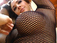 Horny hottie uses a nice, big glass toy on her tight ass